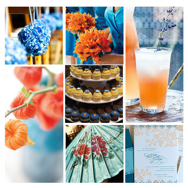A Tangerine Blue Inspired Wedding The combination of orange blue has