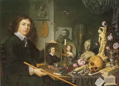 David Bailly, (* 1584 Leiden, + 1657 Leiden): Selbstporträt mit Vanitas-Symbolen, 1651, Stedelijk Museum De Lakenhal, Leiden