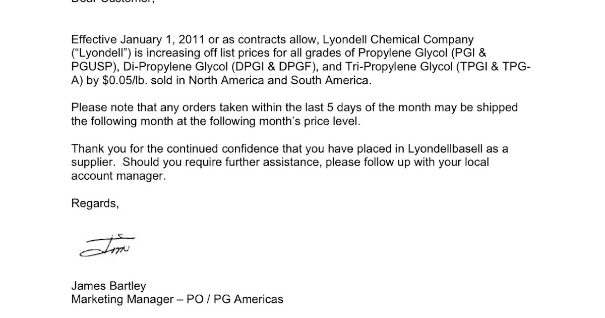 Chemical Market Info from RCU Chemical, LLC.: Lyondell PG Price ...