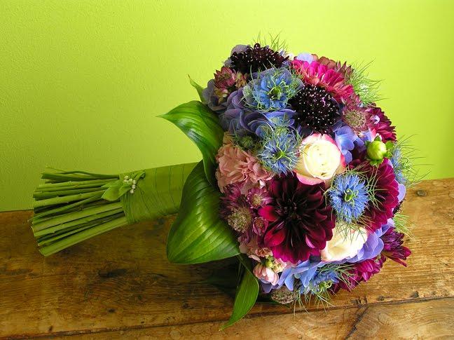 dahlia astrantia nigella hydrangea wedding bouquet scabiosa