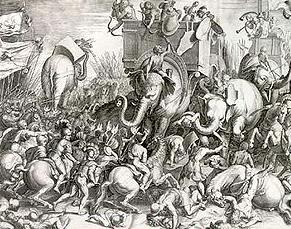 Ilustración de la Batalla de Zama por Cornelis Cort