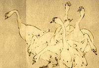 antique color drawing of geese
