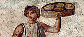 Ancient Roman mosaic of slaves serving food at a banquet from Carthage 3rd century CE