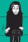 Marjane Satrapi black and white self portrait