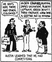 single panel 'Austin learned he had competitors' from 'Texas History Movies'