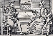 a black and white contemporary print of a Puritan family ca1563
