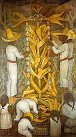 A color photo of The Corn Festival (La fiesta de maíz) Court of Fiestas fresco in the Ministry of Education, Mexico City, from the cycle Political Vision of the Mexican People, by Diego Rivera 1923-4.