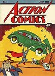 A color photo of the front cover of 'Action Comics' containing the first appearance of 'Superman'.