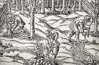 color photo of a monochrome woodcut illustration from the 1618 title page of A New Orchard and Garden by William Lawson
