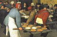 color photo of a detail from a painting of a Renaissance era feast