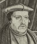 detail from a black and white reproduction of a print of Matthew Parker