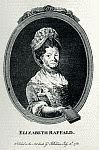 black and white photo of the engraved frontispiece portrait of Elizabeth Raffald