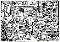 black and white reproduction of a woodcut of a Renaissance kitchen