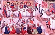 color photo of a detail from a painting of a Medieval feast