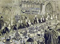 color photo of a contemporary print of a Victorian banquet