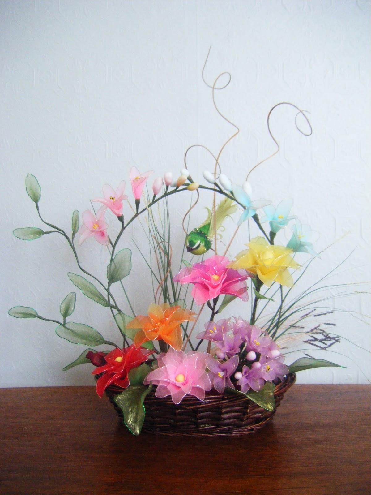 Handmade Nylon Basket : Handmade flowers nylon