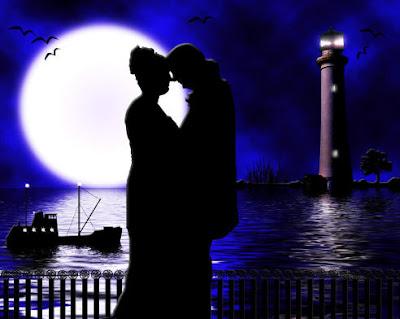 casal apaixonado na luz do luar