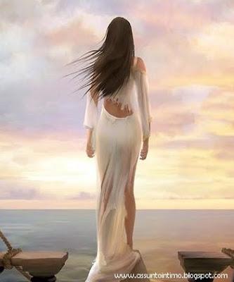 mulher refletindo,mar,