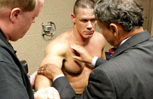 John Cena Pec Tear http://wrestleandrap.blogspot.com/2007/10/cena-out-with-pec-tear-must-surrender.html