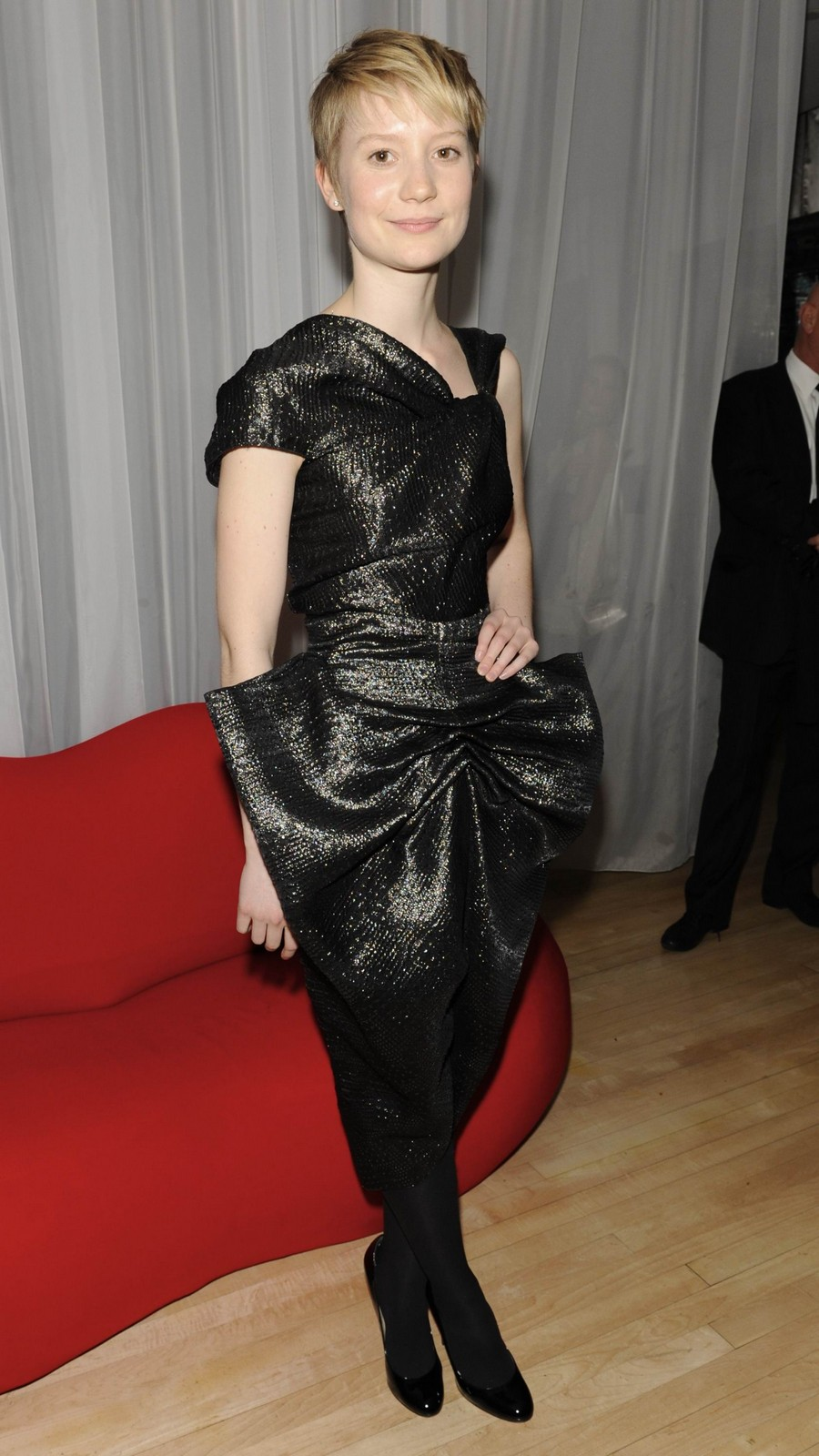 Mia Wasikowska black dress short hair