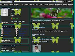 Butterfly myspace layouts