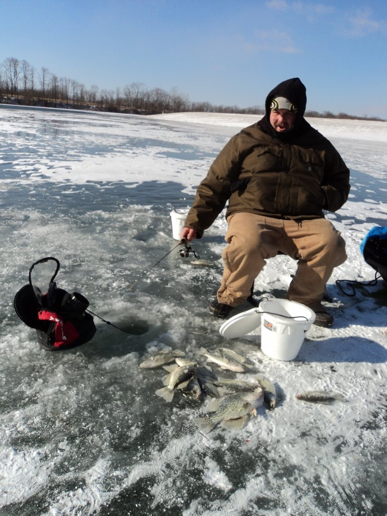 Herman brothers blog a great saturday ice fishing illinois for Otter ice fishing