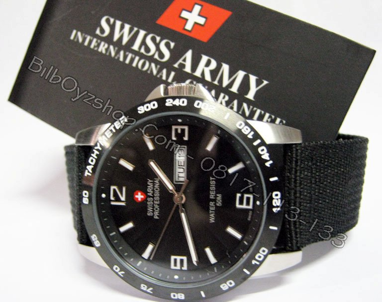 harga jam swiss army original on SWISS ARMY PROFESIONAL SILVER KANVAS BLACK