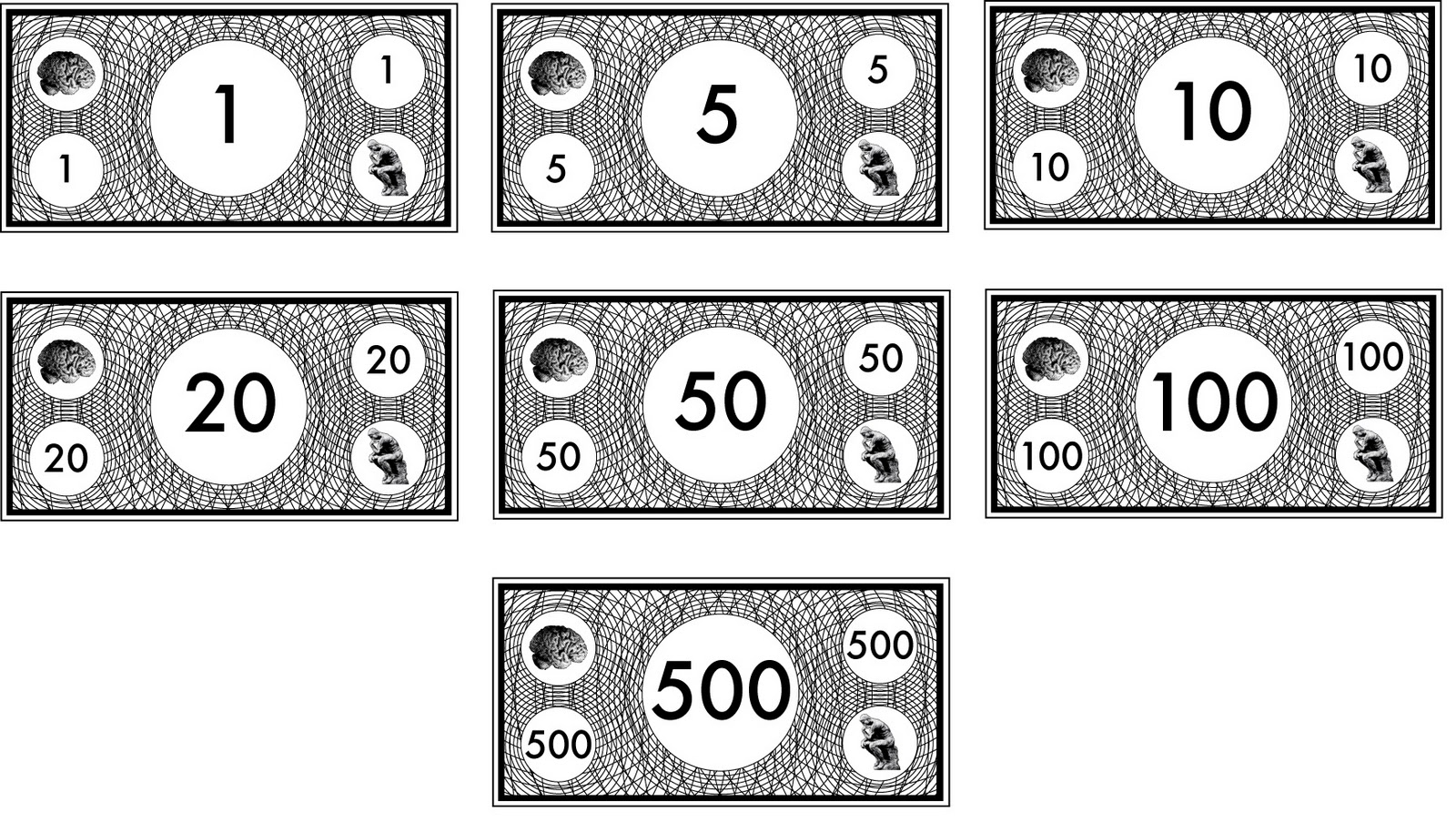 printable monopoly money black and white the white on the brain and