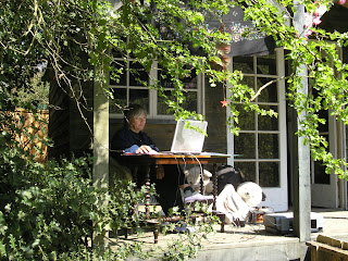 Tracy at Work in the Summerhouse