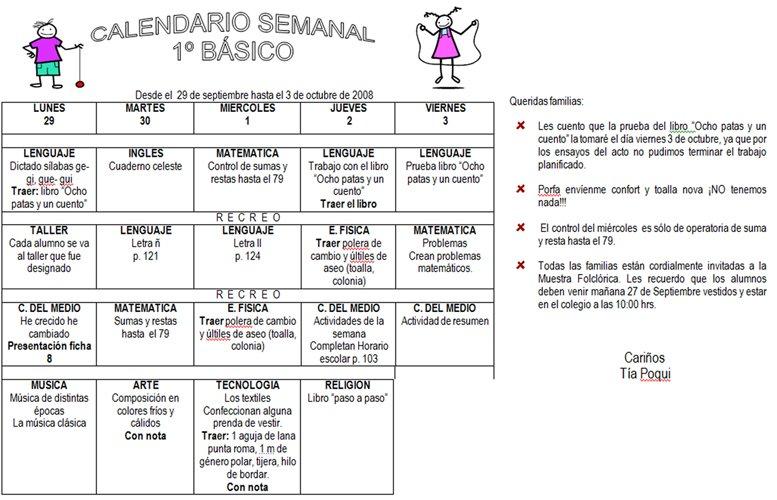 CALENDARIO SEMANAL DEL PRIMERO BASICO (SEMANA DEL 22 AL 26 DE SEPTIEMBRE