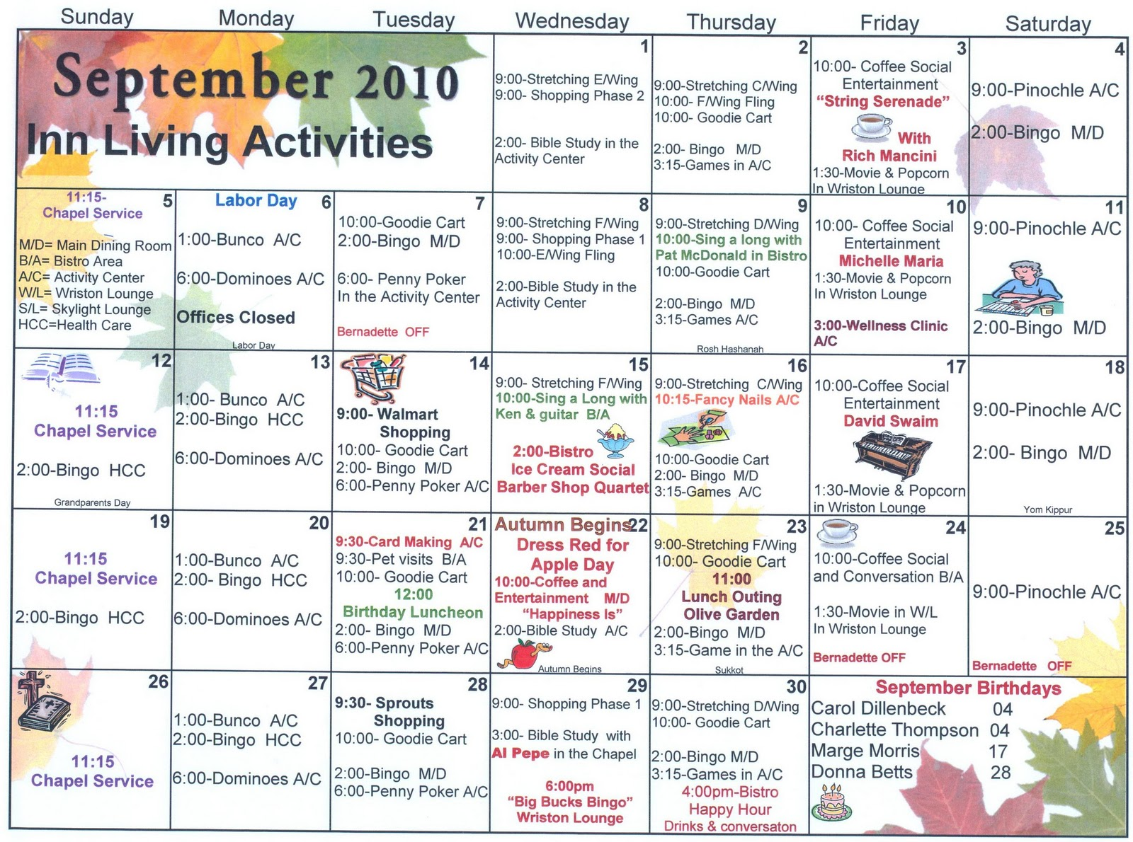 September assisted living activities welcome to sun for Assisted living activity calendar template