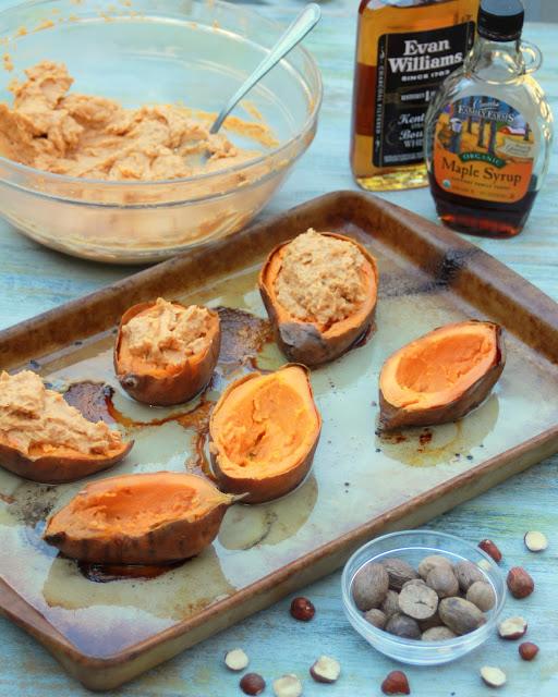 Twice Baked Bourbon Hazelnut Sweet Potatoes