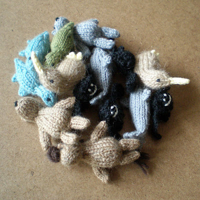 knitted and crocheted tiny animal magnets