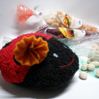 handmade cotton ladybug bath sponge organic candy and felted flower ring