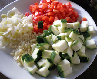 chopped vegetables zucchini capsicum garlic leek