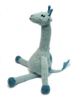 turquoise and teal knitted and crocheted giraffe by Morrgan