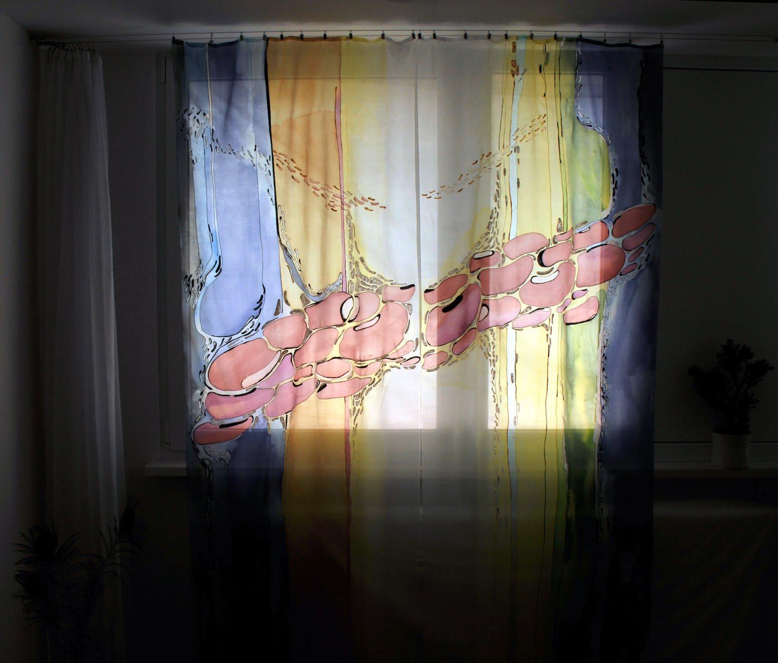dgm-art: SILK: Silk painted curtains: Beans