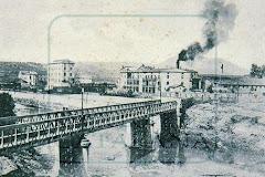 Vista general del ferrocarril de Berga al seu pas per Manresa a finals del segle XIX