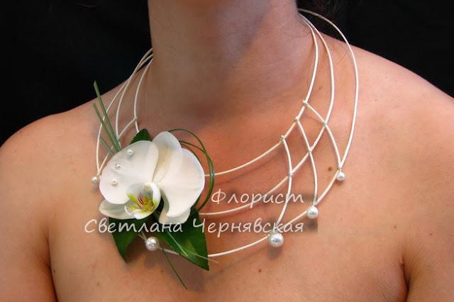 украшение для невесты из живых цветов