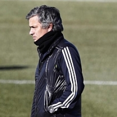 Mourinho during a training in Valdebebas