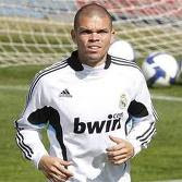 Pepe training with Real Madrid jersey