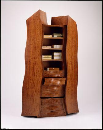 Closet Humidor: Upright humidor cabinet cigars black oak.