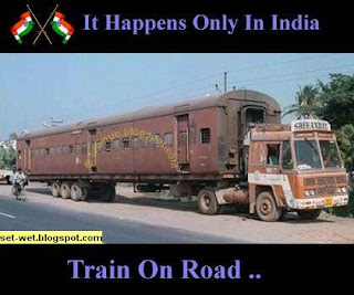Train on road in truck