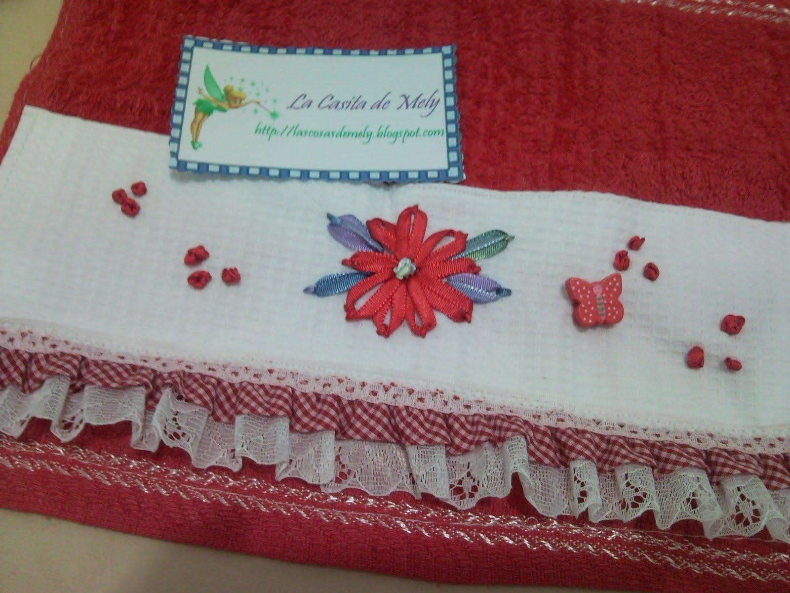 Toallas Bordadas En Cinta Con Aplique De Mariposa