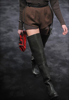 Prada 2009 runway, Prada shoes, over-the-knee boots, leather boots, Prada boots, big leather boots, biker boots, motorcycle boots, prada fall winter 2009 trends