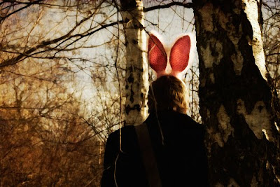 bunny ears, photography, masks, animal masks, pink furry bunny ears, in the woods