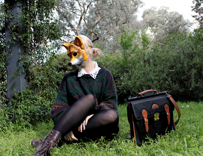 fashion, lookbook, fox mask,
