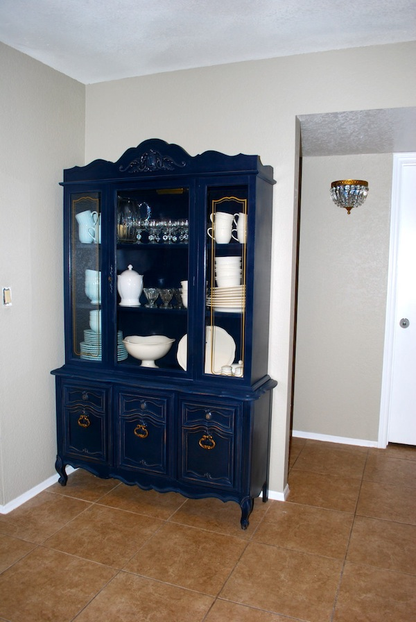 Navy China Cabinet Hutch