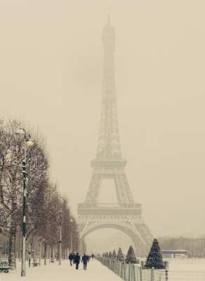 paris eiffel tower in snow