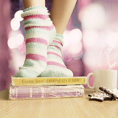 girl standing on books_bokeh